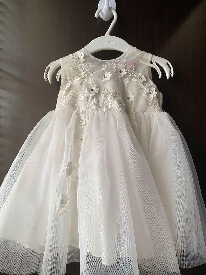 Dress putih babtis bayi perempuan