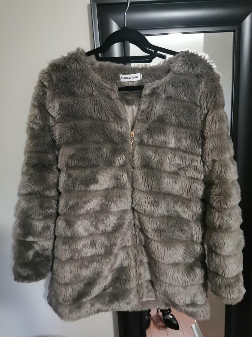 Faux fur fall jacket