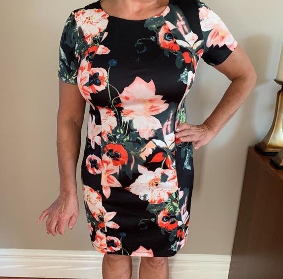 floral short sleeve formal dress