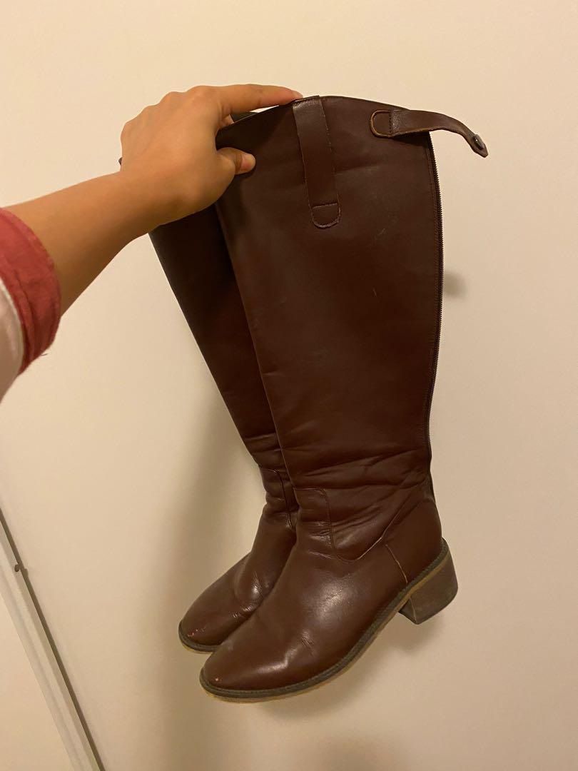 Genuine leather over the knee boots