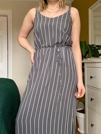 grey striped maxi dress NWT