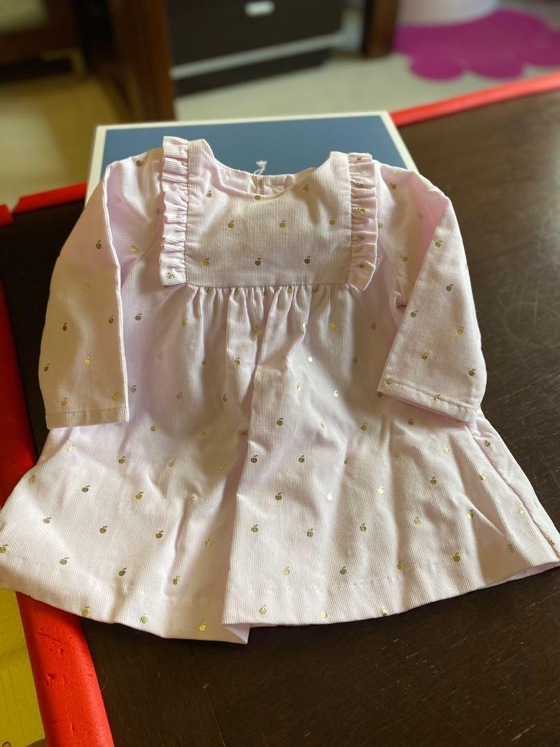 法國JACADI 嬰兒6個月連身裙洋裝(淡紫+金)