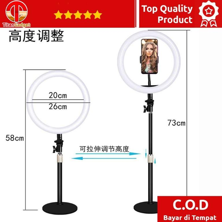 Lampu Halo Ring Light LED Selfie 10 Inch Monopod + Holder