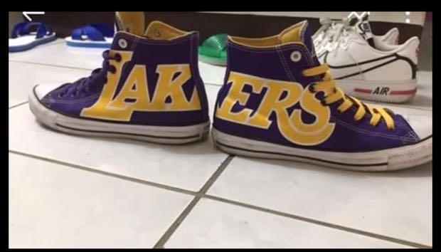 Nike converse Lakers 湖人隊 lebronjames lbj板鞋 us 9.5