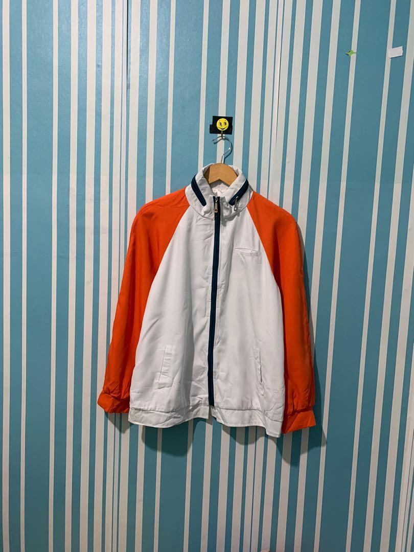 No Name Orange Jaket tracktop training jaket Sepeda jaket runing jaket Windbreaker Second Thrift Preloved Bekas