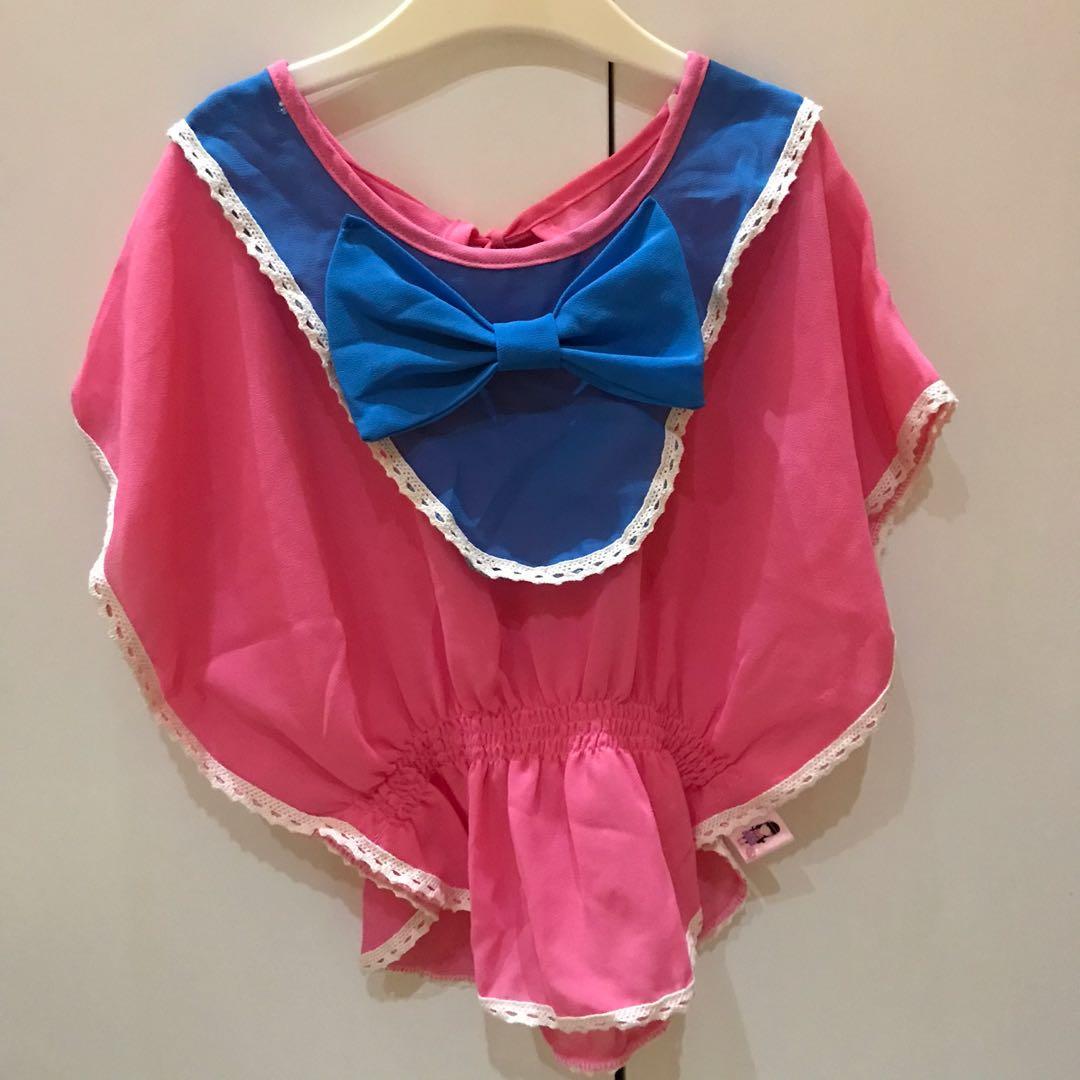 preloved ! import baju anak perempuam atasan bahan chifon pink