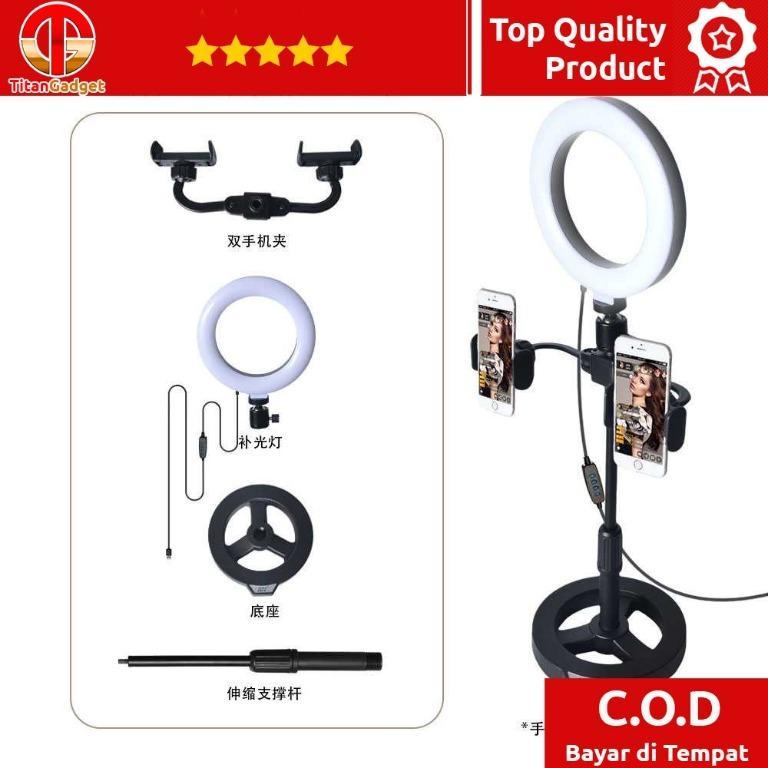 Ring Light Lampu Selfie DImmable Live Tripod 2 Holder KH-16
