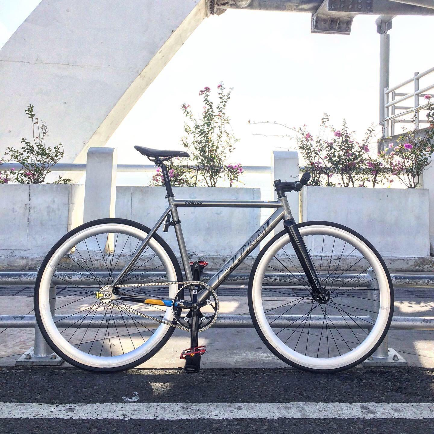 Sepeda Full Bike Fixie / Fixed Gear Frame Tsunami SNM100 Ti-Polish size M with Fork Tsunami Alu Carbon