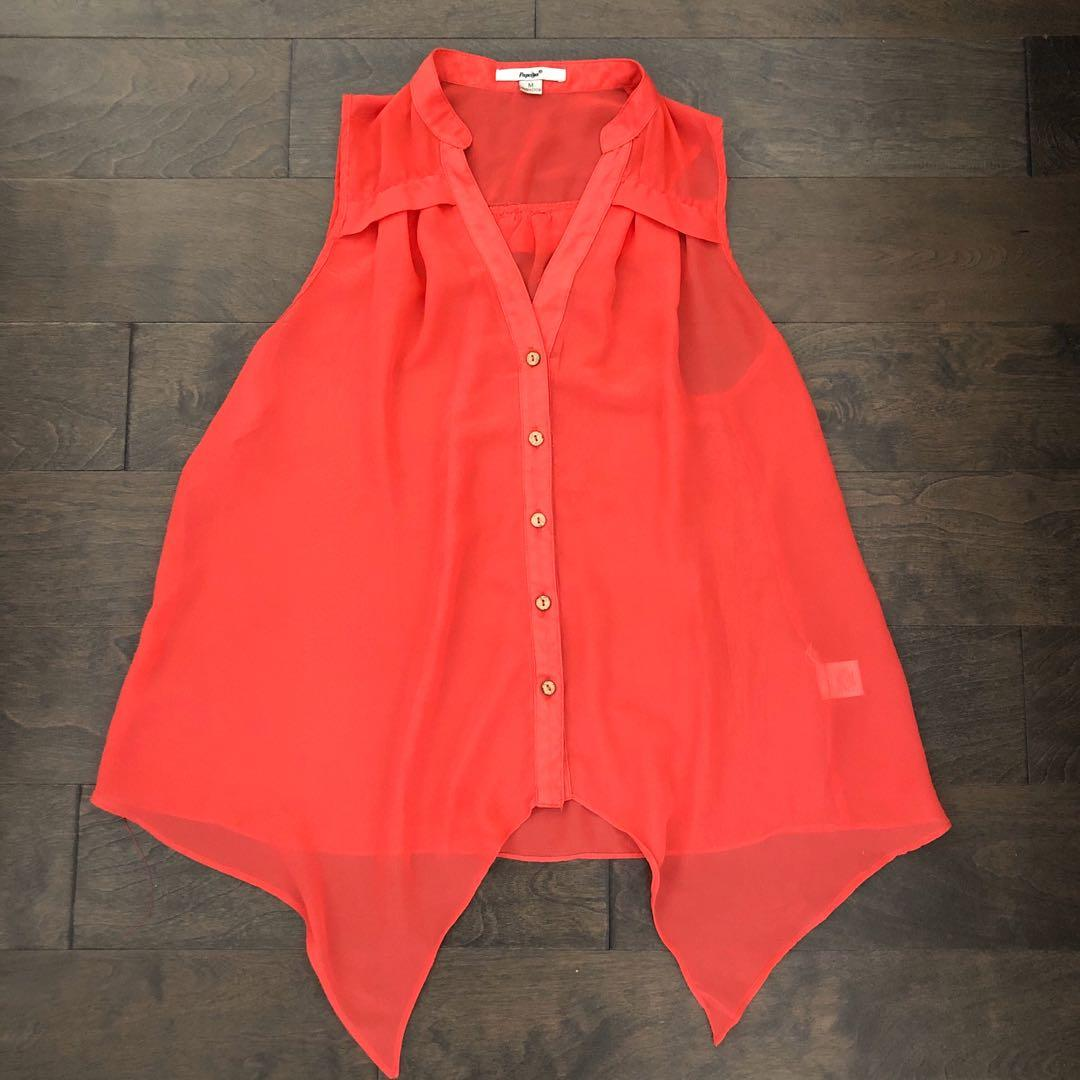 Tangerine Sheer Blouse