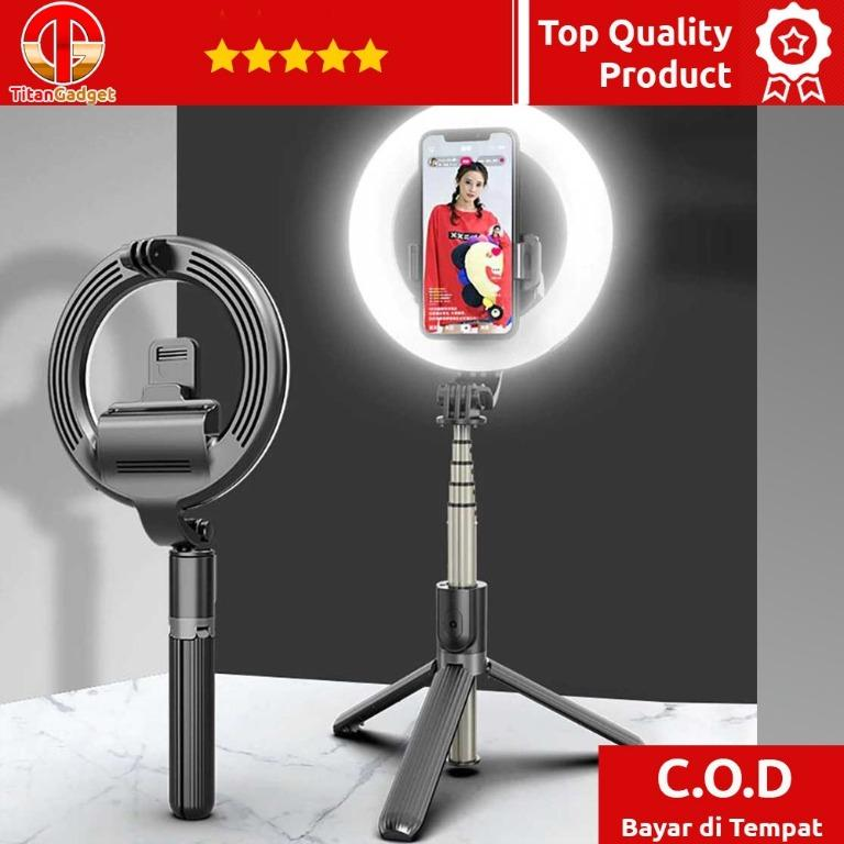 Tongsis Lampu Halo Ring Light 48LED 16cm with Shutter L07