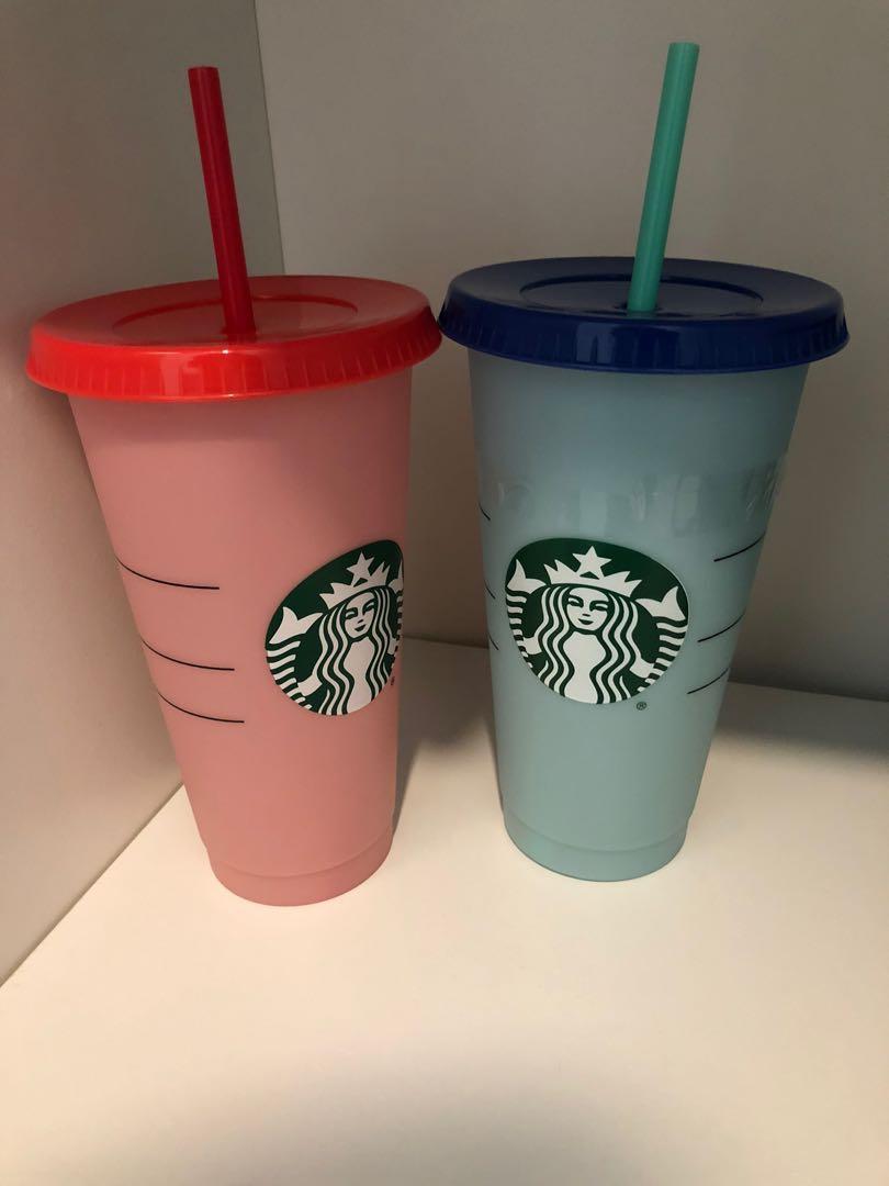 Tumbler starbucks merah dan biru new gelas red blue