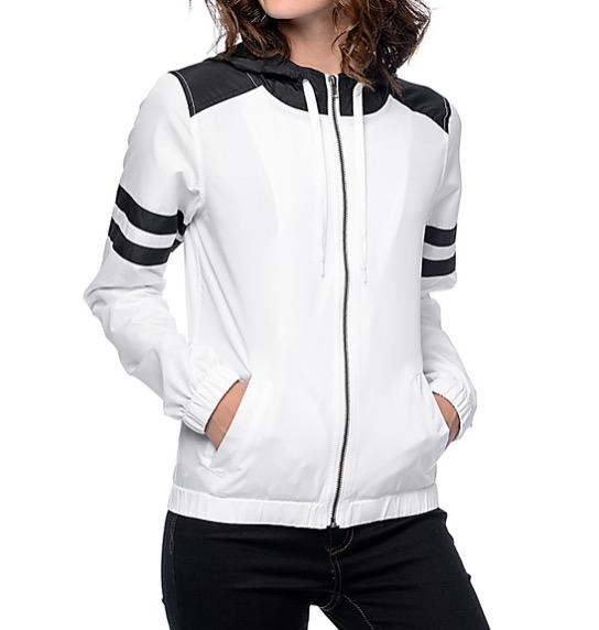 white and black windbreaker