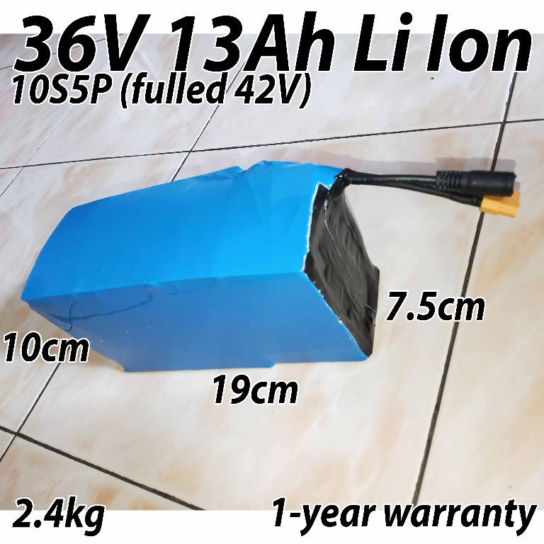 36V 13Ah Li Ion Lithium Battery Electric Bicycle Scooter Bike Ebike Escooter