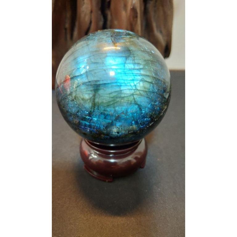 頂級雙面滿藍光拉長石球61mm(含座)