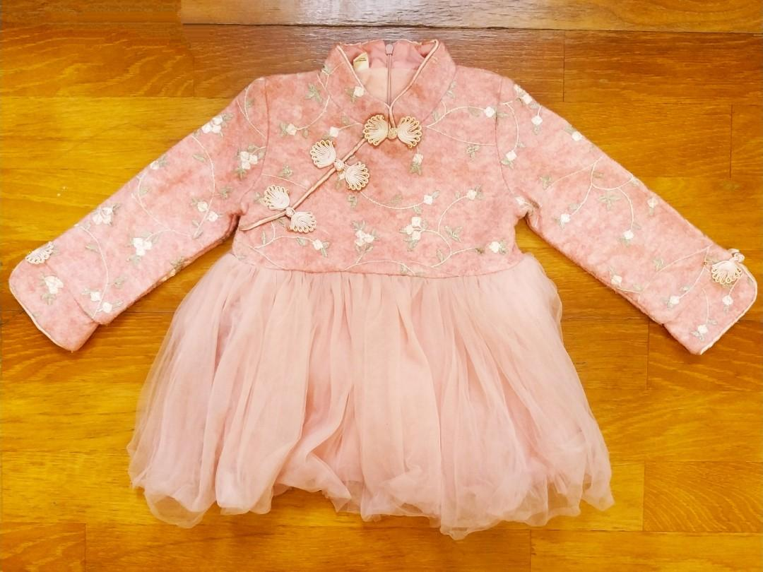 全新女童粉色拜年小洋裝7號(版小90cm)