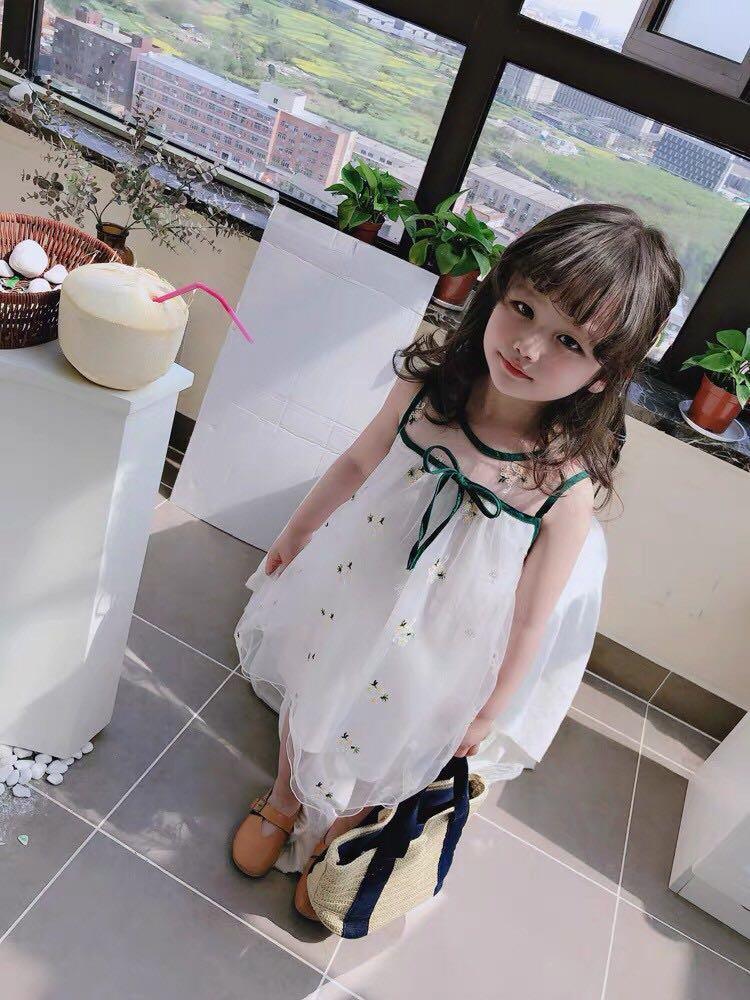 女童寶寶甜美印花連衣裙 中小童洋氣翻領收腰裙子(15)