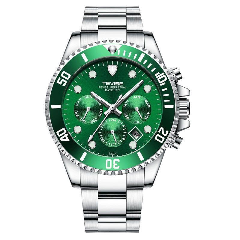 全新三眼綠水鬼機械錶