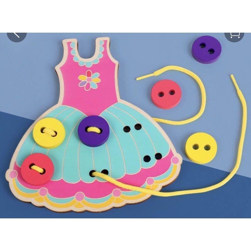 二個ㄧ組 88元 現貨‼️現貨️‼️兒童益智衣服鈕扣穿線玩具