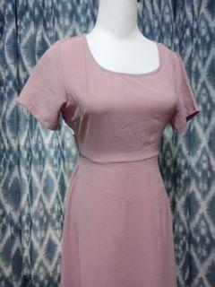 粉色系 花苞綁帶 連身洋裝 #週慶