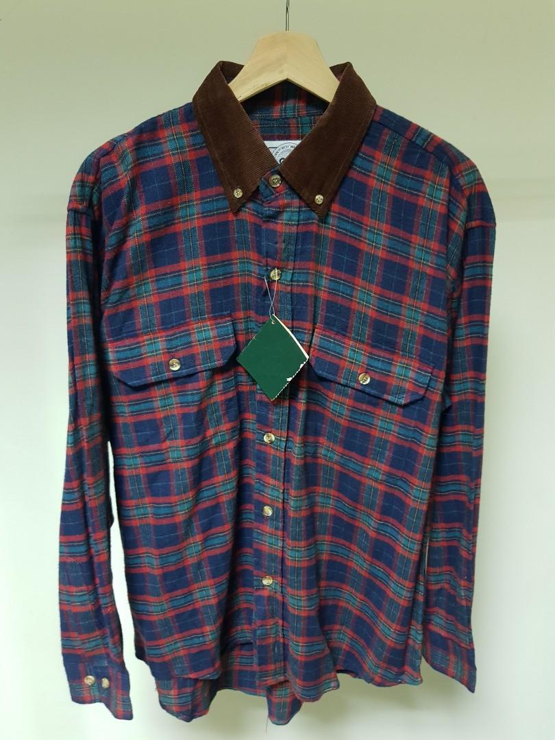 全新 salco club  燈芯絨衣領 法蘭絨 蘇格蘭格紋 長袖襯衫 M號 全新