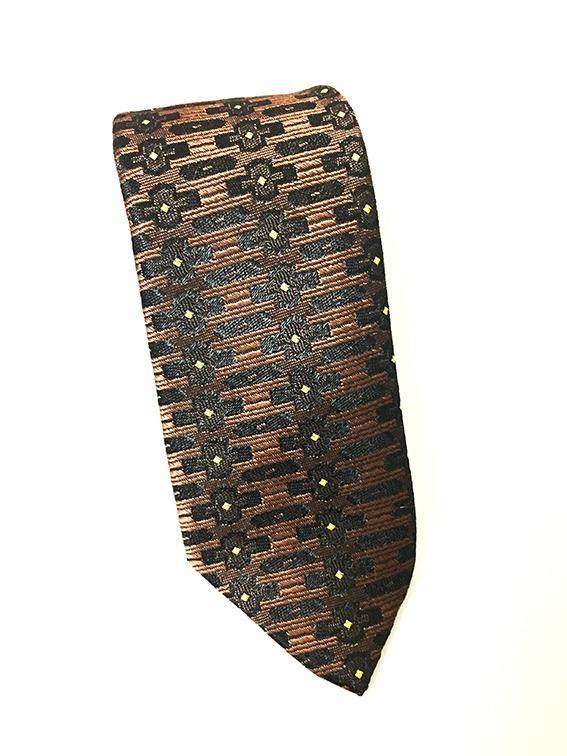 德國 Vintage窄版紳士領帶 -深褐浮雕織紋-071(古著)