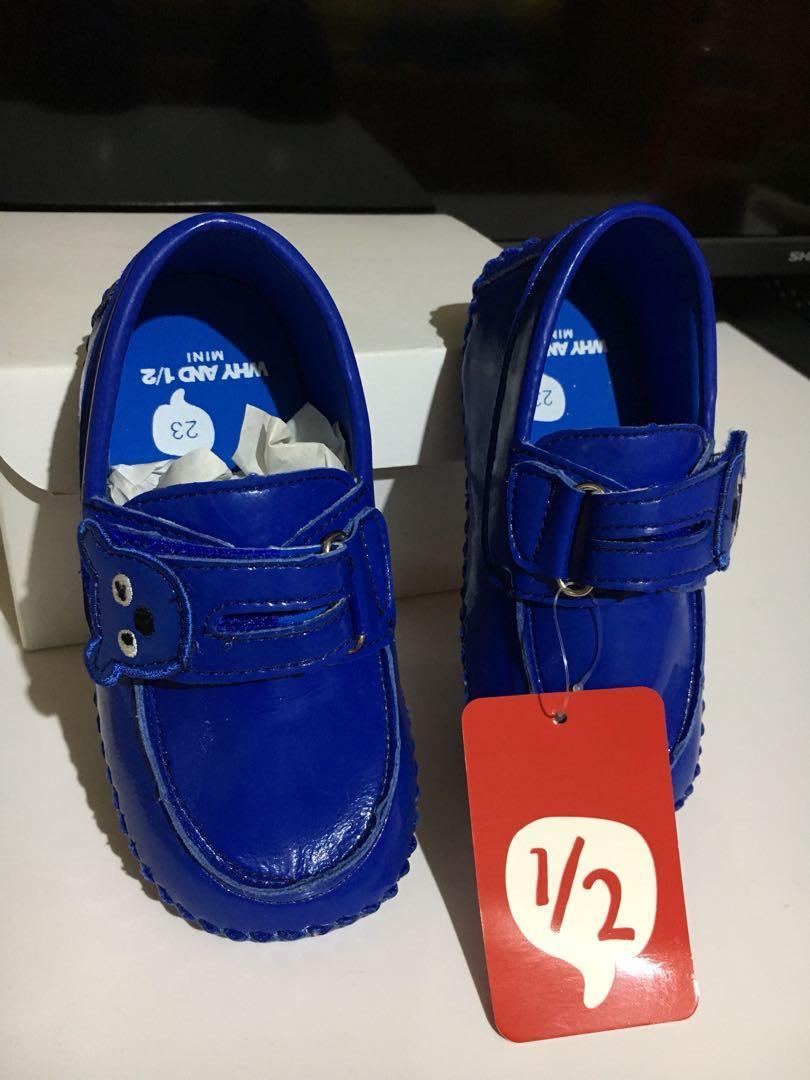 全新 why and 1/2 寶藍 23號 普普熊 男童 女童 豆豆鞋 休閒鞋 童鞋 熊臉 賠本售出750(原價1690元