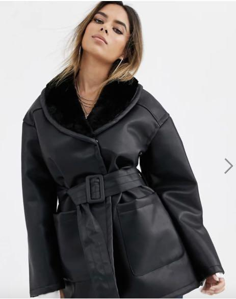 ASOS DESIGN luxe leather look wrap over jacket in black