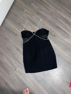 Black diamond strap dress with mesh