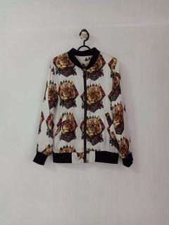bomber jaket motif tiger mozaic
