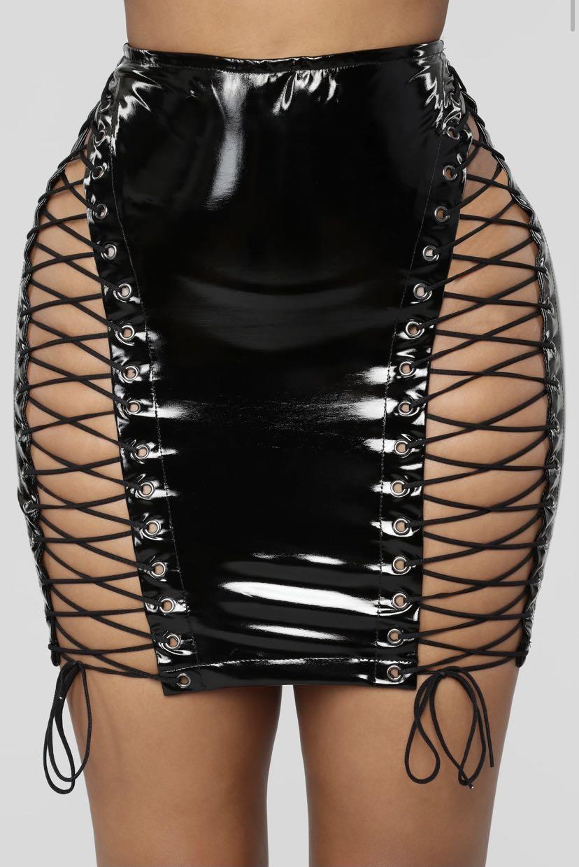 Fashion Nova Black Leather Skirt - Size M