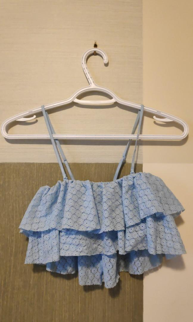 Frilly Tube Top w/ Removable Straps size S