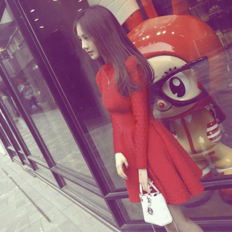 Gorgeous Korean Fashion Slim Fit Stretch Elasticity Elegance Temperament Long-Sleeve Soft Pleated Dress Princess Dress