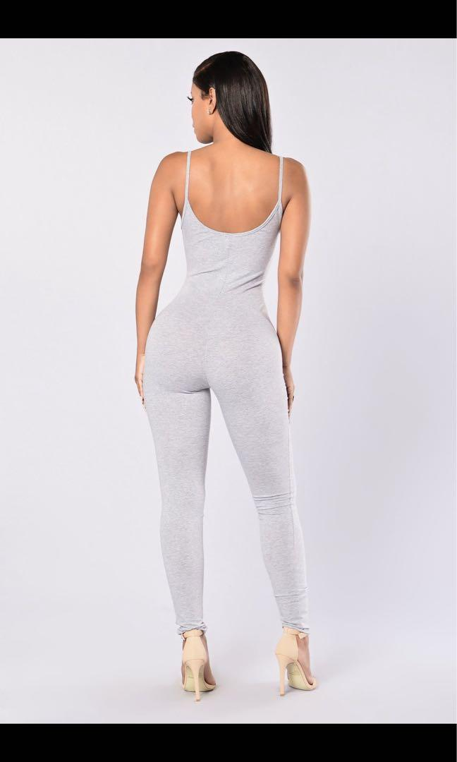 Grey fashion nova jumpsuit