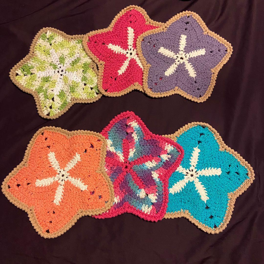 Handmade crocheted starfish dishcloths