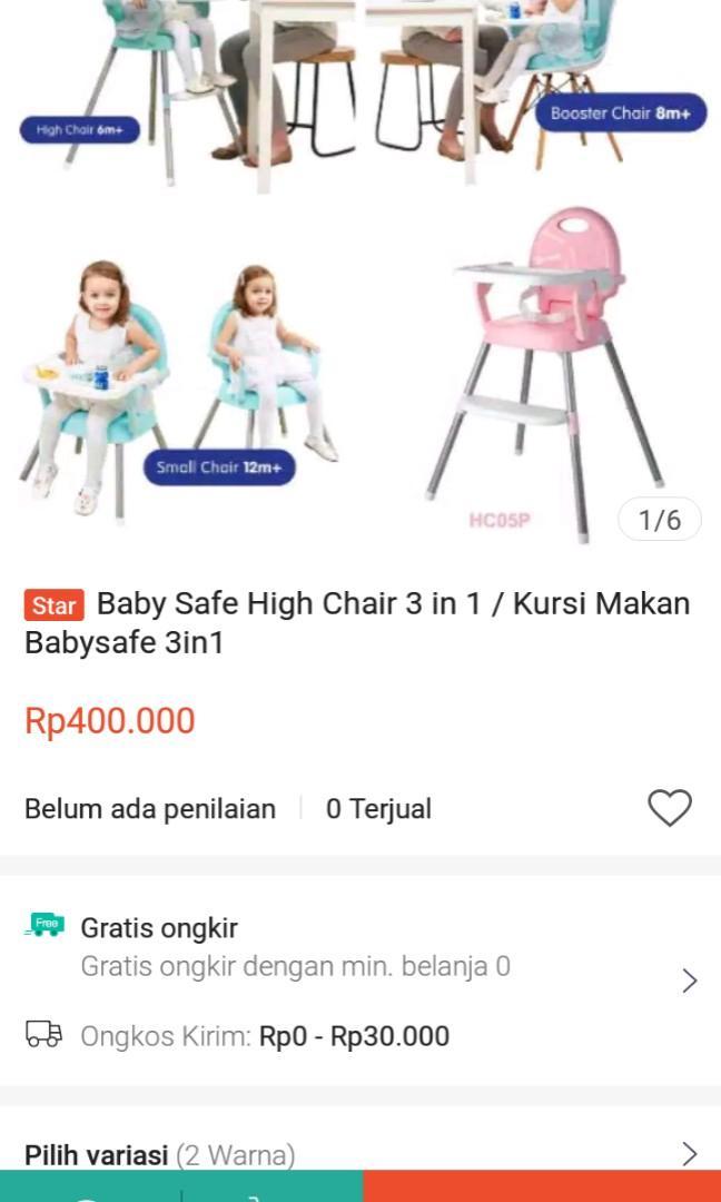 High chair baby safe biru(gambar hanya ilustrasi)