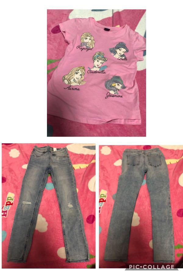 H&M兒童牛仔褲+粉紅T