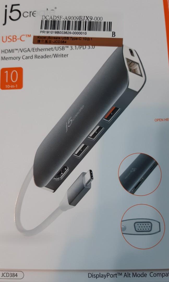 j5 create USB Type-C 10合1擴充基座 (JCD384)