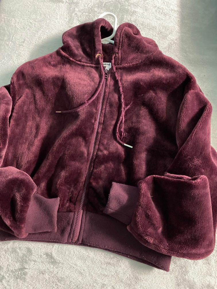 Maroon Furry Jacket