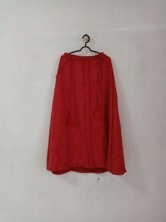 maxi skirt velvet merah pom pom