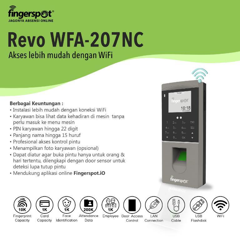 Mesin Absensi Wajah Fingerspot Revo WFA-207NC