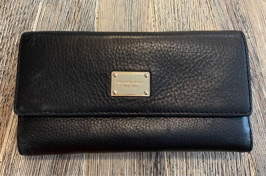 Michael Kors Black Leather Wallet Full Size