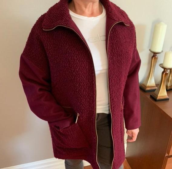 michael kors red/burgundy pea coat NWOT