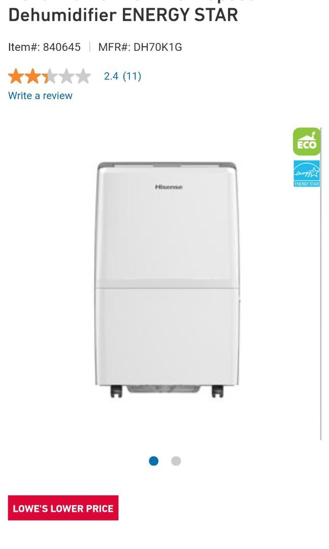 NEW HISENSE 70 PINT DEHUMIDIFIER 2-SPEED WITH WARRANTY ONLY $210