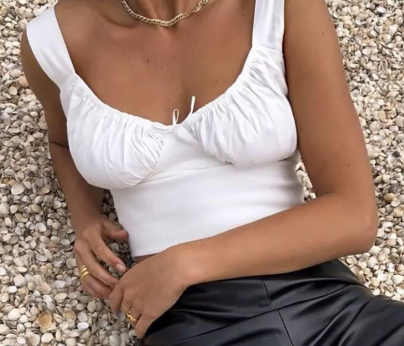 New y2k white blouse