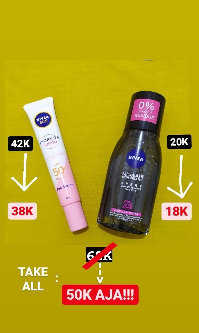 Nivea Sunscreen Sun Serum, Lipcare, Micellar Black murahh