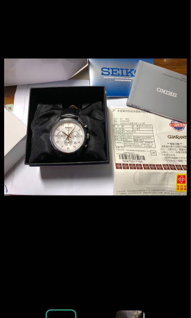 Seiko玫瑰金三眼錶