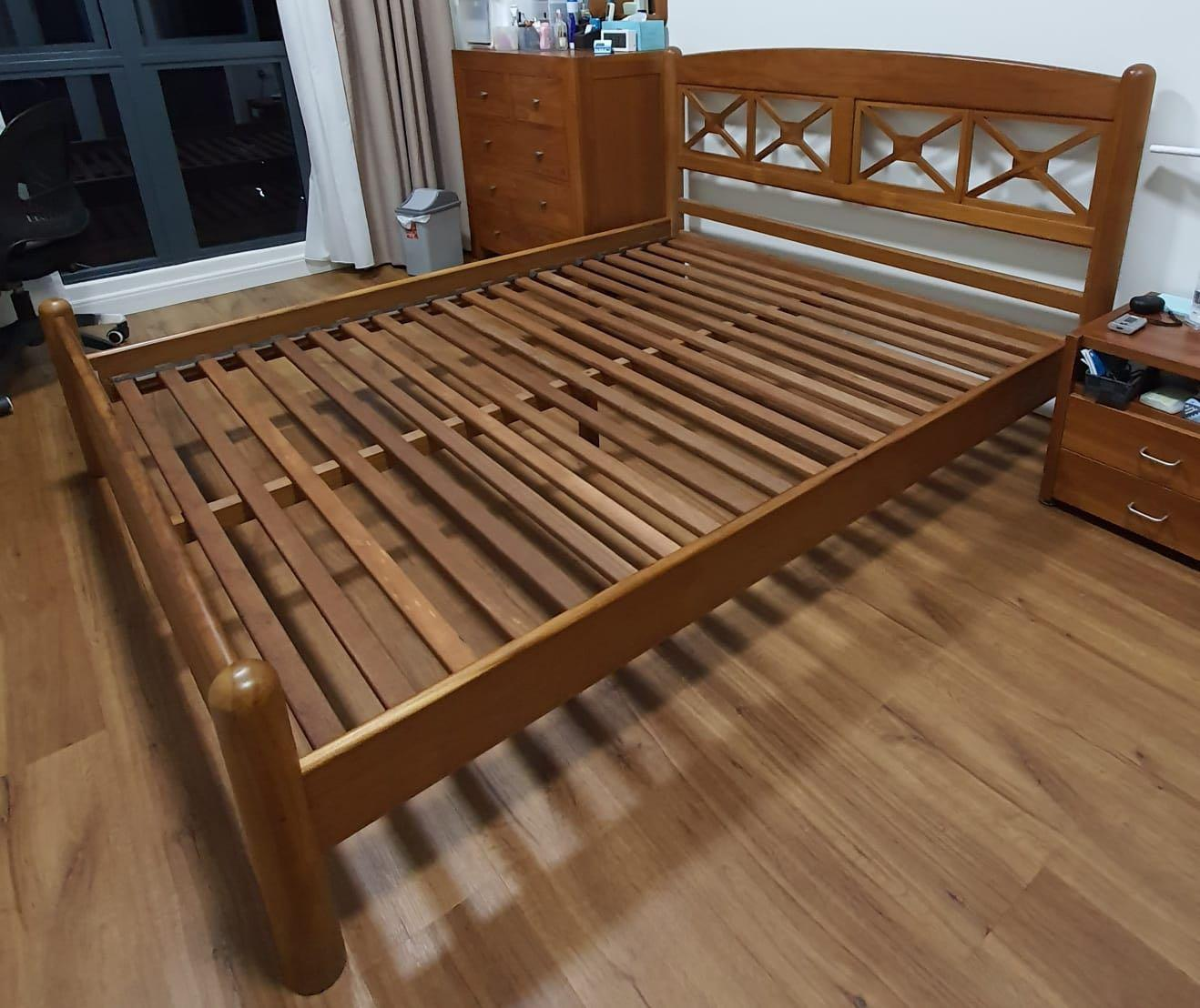 Picture of: Used Scanteak Queen Bed Frame For Sale At 250 Furniture Beds Mattresses On Carousell