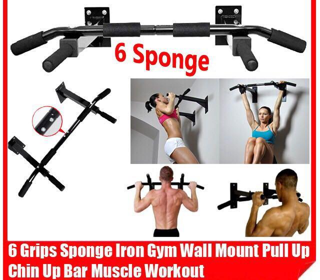 Wall Mount Pull Up Chin Up Bar Muscle Workout Gym