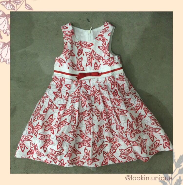 White with red ornaments dress