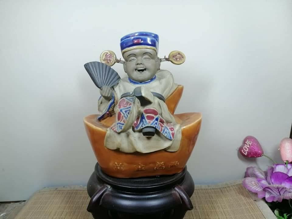 珍藏30年的善財童子 石灣陶製 招財進寶
